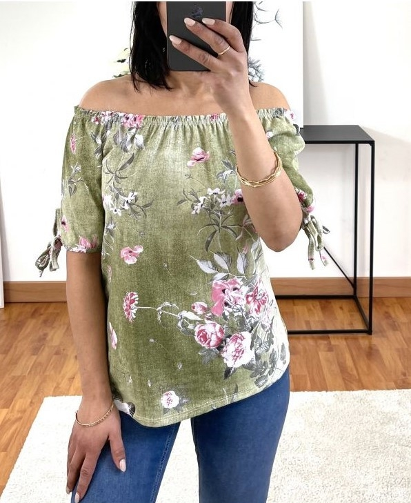 Blouse Flower Kaki